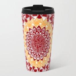 Light Orange and Maroon Mandalas Travel Mug