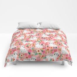 Havanese Floral - dog, dogs, cute dog, white dog, flowers, florals, pink floral Comforters