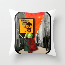 SKULL GIRL CAUSES PAIN WITH ROUNDED BLACK BORDER Throw Pillow