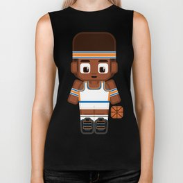 Basketball - White, Orange and Blue Biker Tank
