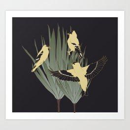Goldfinch and Botanicals Illustration Art Series Art Print