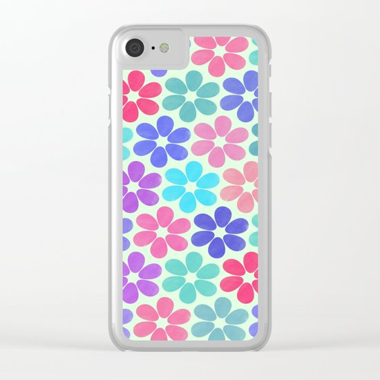 Colorful Floral Pattern Clear iPhone Case