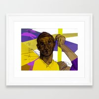 kobe Framed Art Prints featuring Kobe Bryant: SO CHILL by Maddison Bond