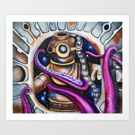Wrong door, tentacles , aliens, scuba diver, spaceship Art Print