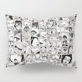 Ahegao Hentai Girls Collage B&W Comic Panels Pillow Sham