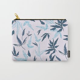 Floral rustic vector pattern with leaves and plants in blue color  Carry-All Pouch