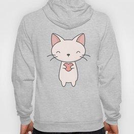 Kawaii Cute Cat With Heart Hoody
