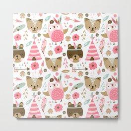 Pink Boho Animals Metal Print
