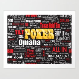 Poker Slang Word Cloud Art Print