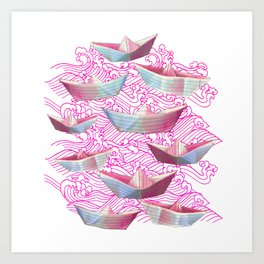 Pink waves and paper boats Art Print