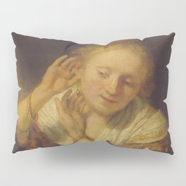 "Rembrandt Harmenszoon van Rijn, ""Young Woman Trying Earrings"", 1654 Pillow Sham"