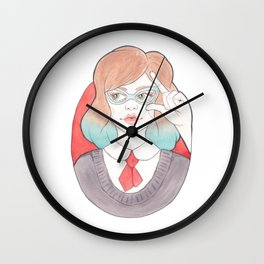 Nerdy, Blue-Haired Minerva in Vintage Glasses Wall Clock