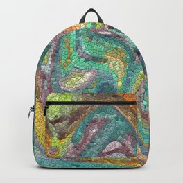 Turquoise, Copper, Gold, Green, Mosaic Design Backpack