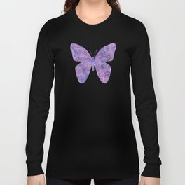 Purple and faux silver swirls doodles Long Sleeve T-shirt