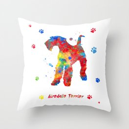Airedale Terrier Watercolor Colorful Abstract Throw Pillow