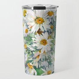 Watercolor chamomile white flowers Travel Mug