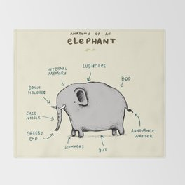Anatomy of an Elephant Throw Blanket