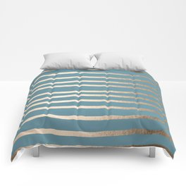 Abstract Drawn Stripes Gold Tropical Ocean Blue Comforters