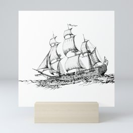 sailing ship . Home decor Graphicdesign Mini Art Print
