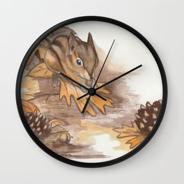 Autumn Chipmunk Wall Clock