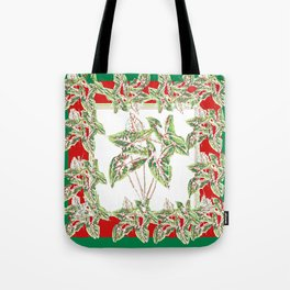 Green & Red Abstracted Foliage Art Tote Bag