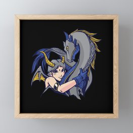 Dragon Hug - Demonic Fantasy Girl Framed Mini Art Print