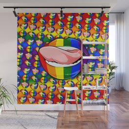 LGBTQ Rainbow Lips Licker Wall Mural