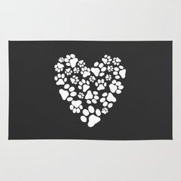 Dog Paw Prints Heart Rug