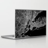 new york map Laptop & iPad Skins featuring New York map by Line Line Lines