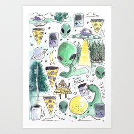alien horror pizza pattern moon Art Print