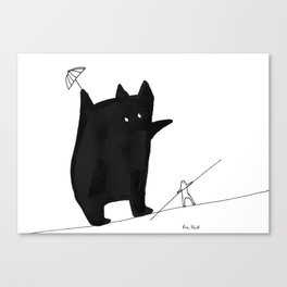Daily tightrope walk with his inner monster Canvas Print