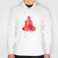 buddhism Hoodies featuring Red Buddha Watercolor art by Thubakabra