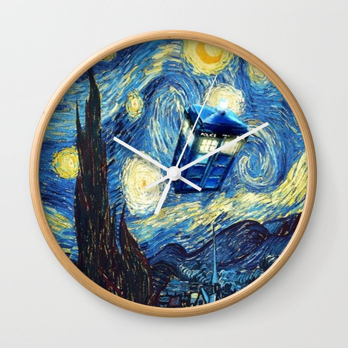 Tardis Doctor Who Starry Night Wall Clock
