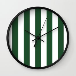 Cal Poly Pomona green - solid color - white vertical lines pattern Wall Clock