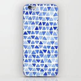 Triangle Watercolor Seamless repeating Pattern - Blue iPhone Skin