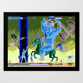 Princess Planet Boss Battle 9 - Battlebarian Art Print