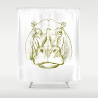 hippo Shower Curtains featuring hippo by jenapaul