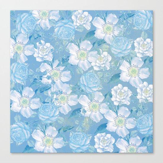 Blue Vintage Rose Pattern Canvas Print