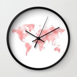 Pink Shiny Metal Foil Rose Gold World Map Wall Clock