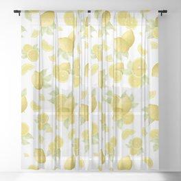 Summer Lemon Twist #1 #tropical #fruit #decor #art #society6 Sheer Curtain