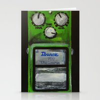 """u2 Stationery Cards featuring Ibanez TS-9 Tube Screamer Guitar Pedal acrylics on 5"""" x 7"""" canvas board by James Peart"""