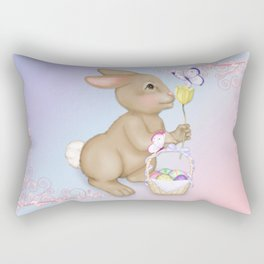 Brown Bunny and Basket Rectangular Pillow