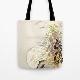 Full Moon behind grass - Japanese vintage woodblock print Tote Bag