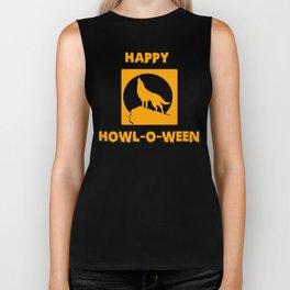 Happy Howl-o-Ween Halloween Werewolf Shirt Biker Tank