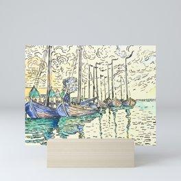 "Paul Signac ""Volendam, barques"" Mini Art Print"