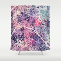 paris map Shower Curtains featuring Paris Mosaic map #1 by Map Map Maps