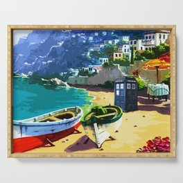Tardis And The Beach Serving Tray