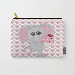 Baby Elephant Loves Cupcakes Carry-All Pouch