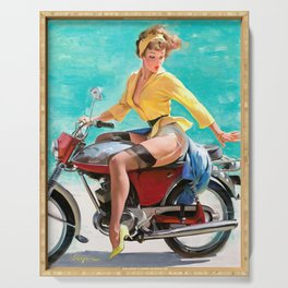 Motorcycle Pinup Girl Serving Tray