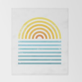 Retro Sunset Throw Blanket
